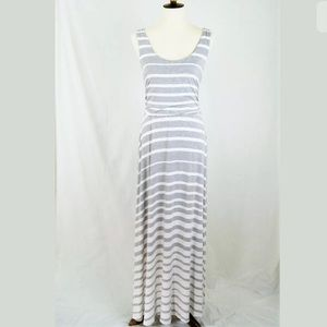 Athleta White Gray Striped Jersey Knit Maxi Dress